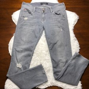 Hudson Collin Flap Distressed Gray Skinny Jeans